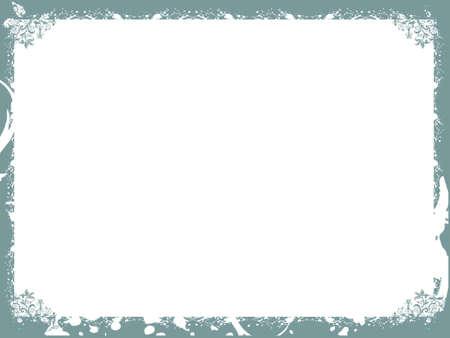 Floral Dark Cyan Border Background Frame Wallpaper Stock Photo