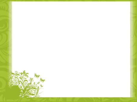 reconocimiento: Flor y l�neas de esquina; marco vector wallpaper  Foto de archivo