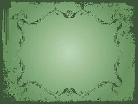 grunge flower on dark sea green background frame, wallpaper  photo