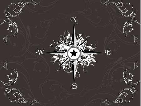 Vector illustration of compass on grunge floral background illustration