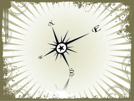 Vector illustration of compass on grunge background illustration