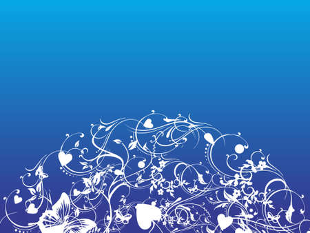 bue: This is vector illustration of cool floral background