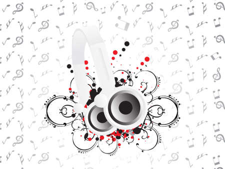 Djs steroe headphones on a grunge floral vector illustration background illustration