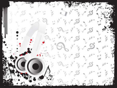 Dj's steroe headphones on a grunge floral vector illustration background Stock Illustration - 2341103