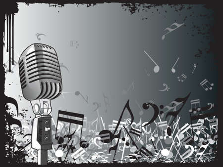 clipart speaker: A microphone with music notes and floral design. Editable colors