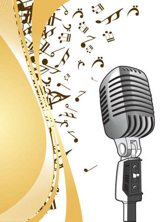 vector illustratio of microphone on a musaical background photo