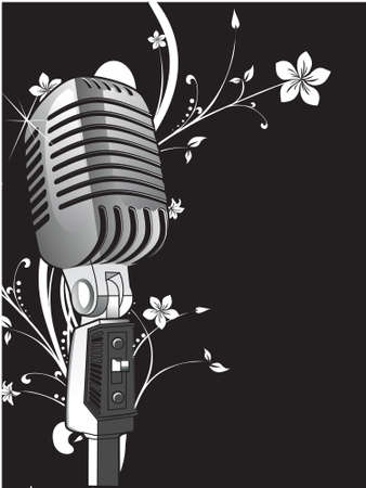 A microphone with music notes and floral design. Editable colors photo