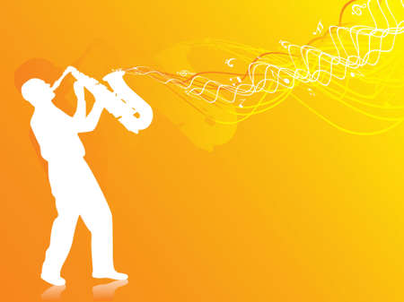 sax: vector illustration of man playing saxophone