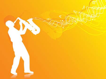vector illustration of man playing saxophone