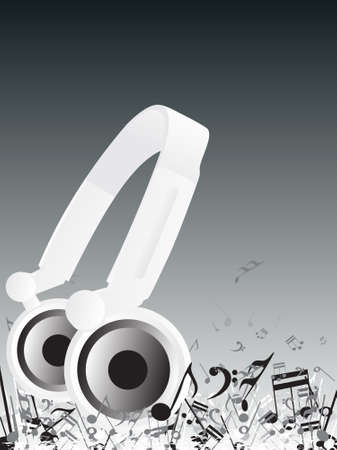 ilustration: Abstract vector ilustration of Djs headphones and musical note Stock Photo