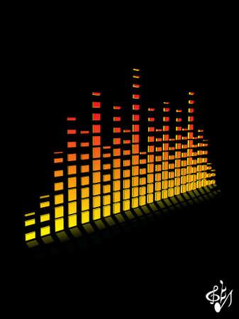 Orange and Yellow Music Equalizer Vector Illustration Background illustration