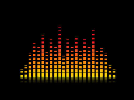 Orange and Yellow Music Equalizer Vector Illustration Background Stock Illustration - 2340977