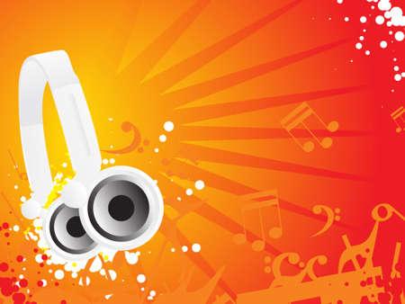 discjockey: Djs steroe headphones on a grunge floral vector illustration background Stock Photo