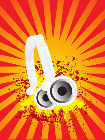discjockey: Djs steroe headphones on a grunge floral vector illustration background Stock Photo