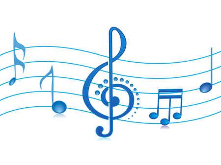 keywords backdrop: vector illustration of beautifull shining musical notes isolated on white Stock Photo