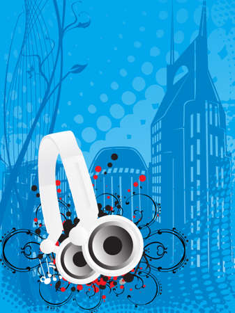 vibrations: Djs steroe headphones on a grunge floral vector illustration background Stock Photo