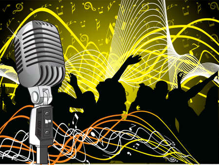 free vector art: A microphone with music notes and floral design. Editable colors
