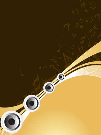 Abstract vector ilustration of speakers and musical note photo