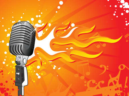 singer with microphone: vector illustratio of microphone on a musaical background