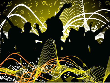 vector illustration of pary people on music background Stock Illustration - 2341169