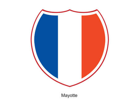 mayotte: This is vector illustration of flag shield isolated on white background