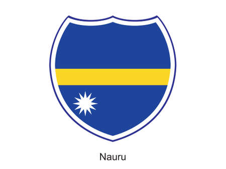 nauru: This is vector illustration of flag shield isolated on white background