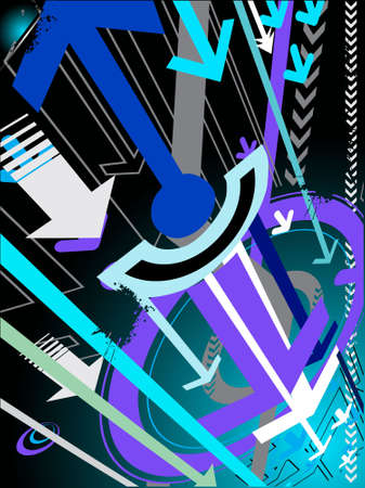 vector illustration of hi-tech grunge arrows on abstract background illustration