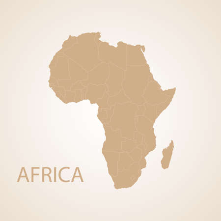 Africa map on brown background. Retro design.