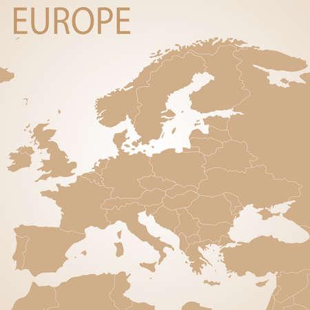 ヨーロッパ地図の茶色。政治州の境のベクター。