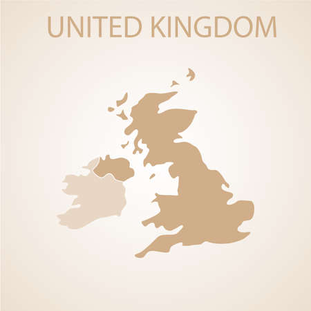 british isles: United Kingdom map on brown background. Illustration