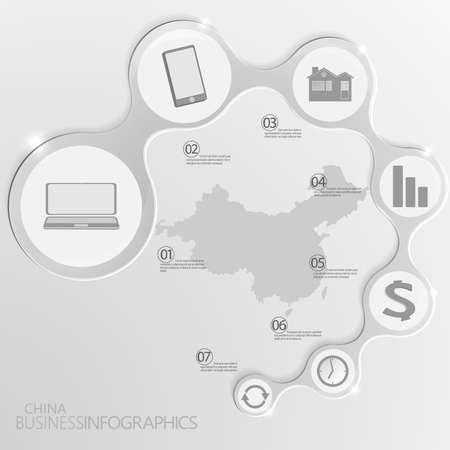 China Kaart en Elementen Infographic. Vector illustratie. Stock Illustratie