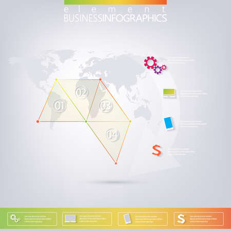 char: Modern colorful design triangles infographic with place for your text. Can be used for web design, business presentation, diagram, char number options and for workflow layout. Illustration