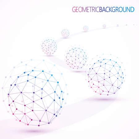 Geometric lattice, the molecules in the circle. Ilustração