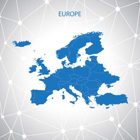 Europe map communication background vector. 矢量图像