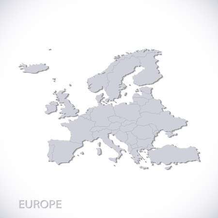 ヨーロッパの地図の灰色。州の境と政治的ベクトル。