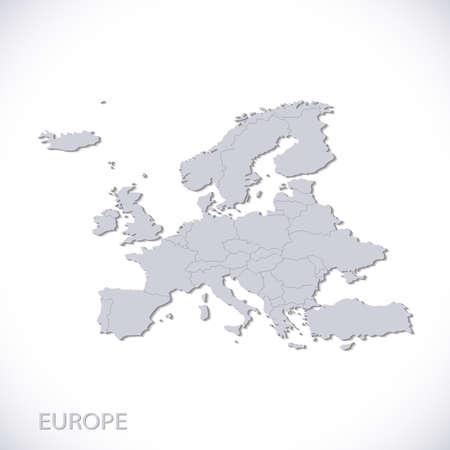 Europa in kaart te grijs. Vector politieke met staatsgrenzen. Stock Illustratie