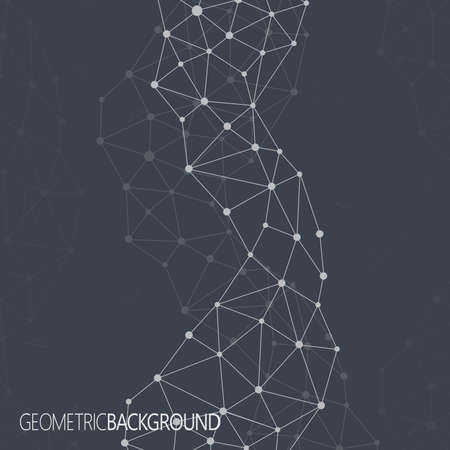 幾何学的な黒の背景。分子とコミュニケーションの背景。あなたのデザインとテキストの背景の画像。  イラスト・ベクター素材