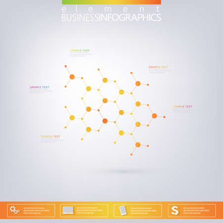 Modern infographic network template with place for your text. Can be used for workflow layout, diagram, chart, number options, web design. Vector