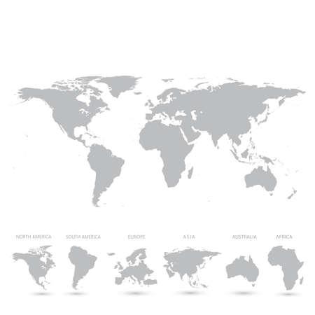 灰色の世界地図のベクトル イラスト。