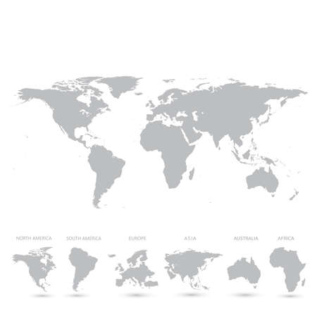 Grey World Map vector Illustration.