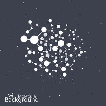 黒い背景に dna の分子。  イラスト・ベクター素材