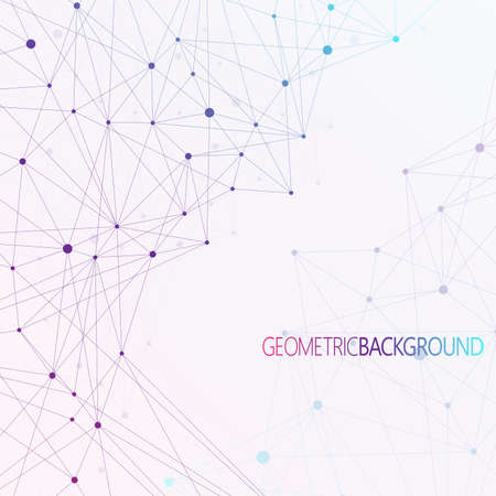 Colorful background dots with connections  for your design and your text. Stock Illustratie