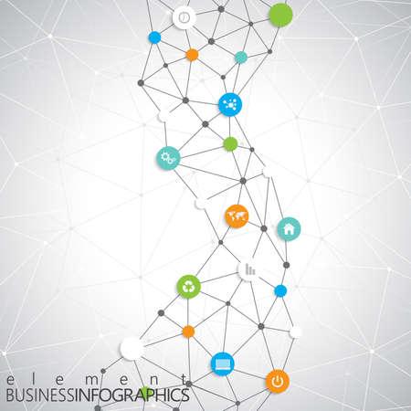 あなたのテキストのための場所を持つモダンなインフォ グラフィック ネットワーク テンプレート。ワークフローのレイアウト、図、グラフ、数値