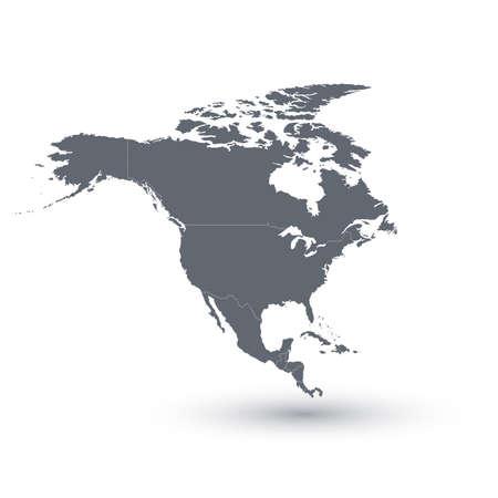 北アメリカ地図ベクトル イラスト。