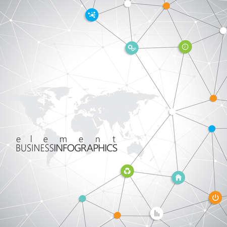 Modern infographic netwerk sjabloon met plaats voor uw tekst. Kan gebruikt worden voor workflow lay-out, diagram, grafiek, aantal opties, web design. Stock Illustratie