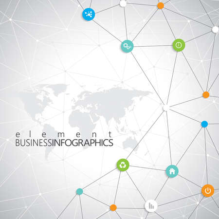 technology background: Modern infographic network template with place for your text. Can be used for workflow layout, diagram, chart, number options, web design.