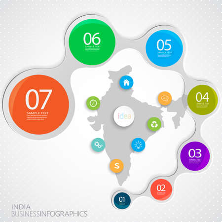 India Map and Elements Infographic. Vector illustration.