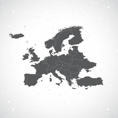 ヨーロッパ地図とコミュニケーションの背景ベクトル イラスト。