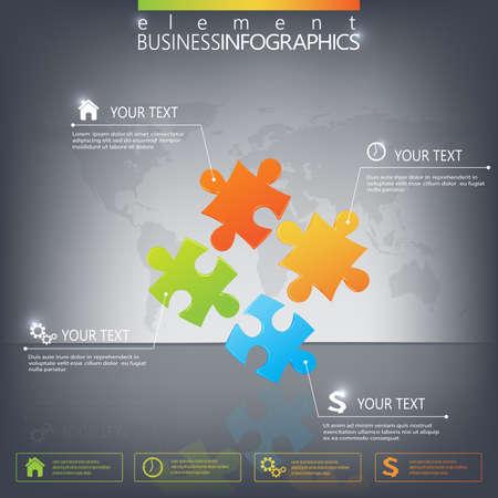 暗い背景上の 3 D パズル作品インフォ グラフィック。Web デザイン、図、ワークフローのレイアウトのために使用できます。