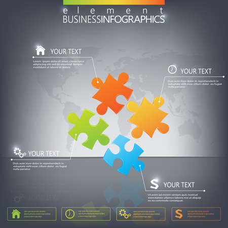 3D Puzzle piece infographics on dark background. Can be used for web design , diagram, for workflow layout.